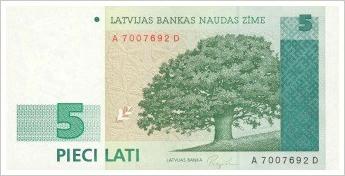 5 Lats banknote