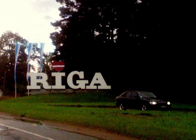 Riga Sign; Latvian Flag Drunk
