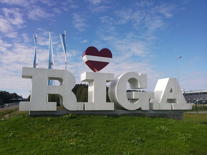 Riga Sign; Latvian Flag... Normal