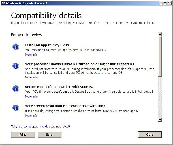 Compatibility Details - Windows 8 Upgrading Tool
