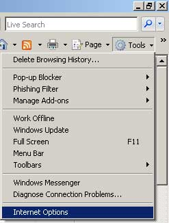 IE7 Tools Options menu