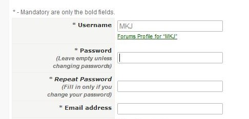 Profile Editing - Password Note
