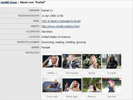 Example screenshot of the Profile page with member pictures uploaded