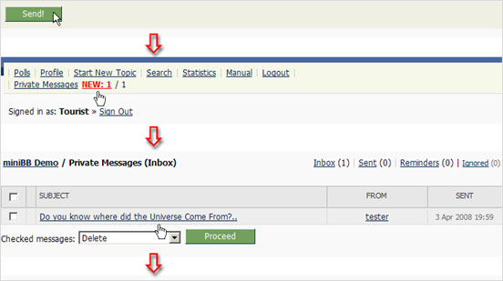 Example screenshot of the Private Contact process