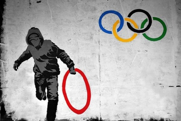 The stolen Olympics ring by Banksy