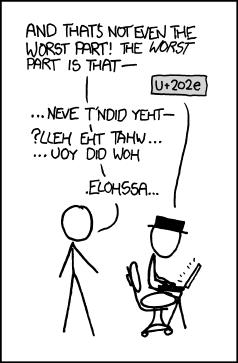 U+202e - profanity issue comic by xkcd