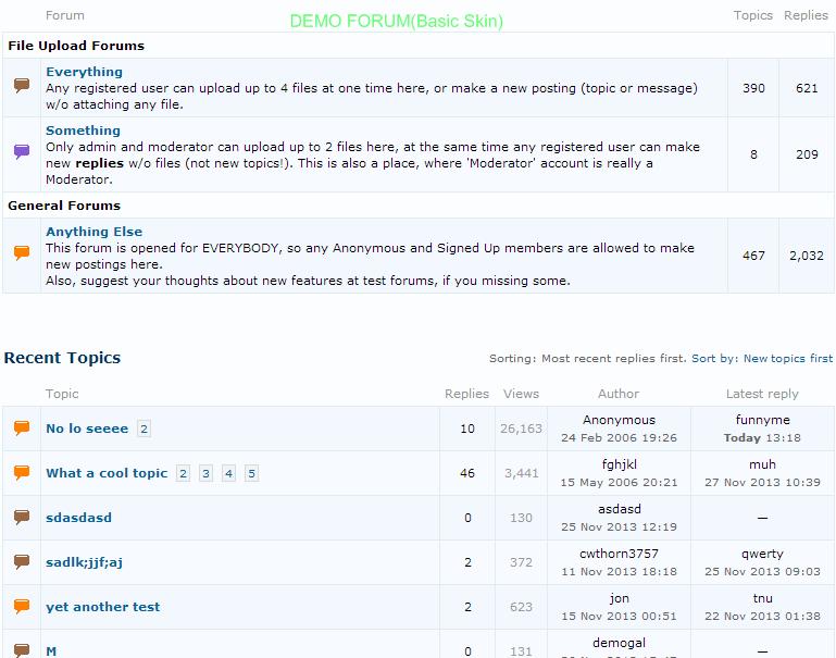Demo Forum with Basic skin