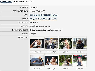Screenshot of the Profile page with member pictures uploaded